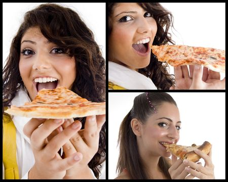 collection of women eating pizza