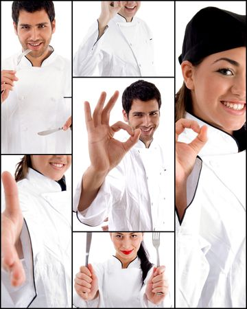 hints: collage of many chefs and cooks Stock Photo