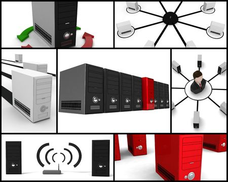 collections of illustrations of computers related Stock Photo