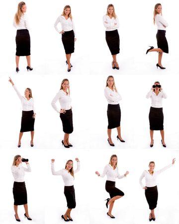 many single women standing on white background photo