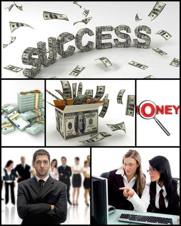 collage of many business peoplew ith money photo