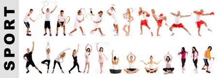 sporting people on white background. many sports