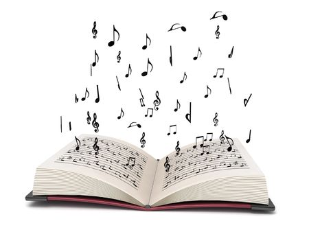 three dimensional flying musical elements from books with white background