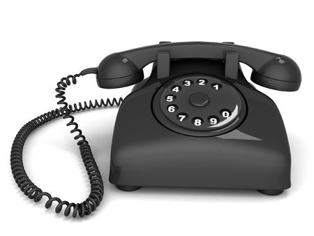 landlines: front view of three dimensional black telephone