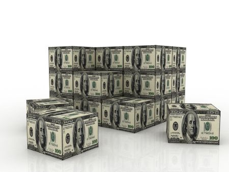 stack of 3d dollar boxes on an isolated white background Stock Photo - 5066915
