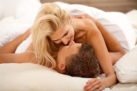 Newlywed couple during sex act Stock Photo - 5107931