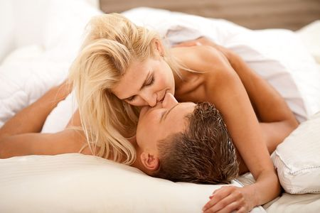 Newlywed couple during sex act Stock Photo - 5107917