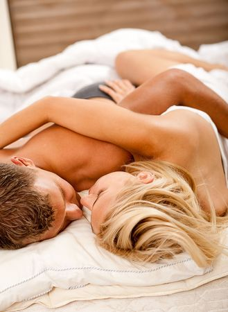 nude woman sex: Affectionate couple at sleep
