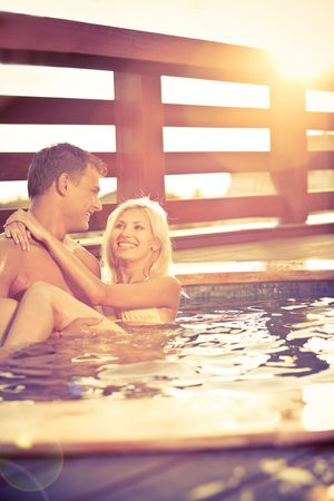 Love by the pool Stock Photo - 5135753