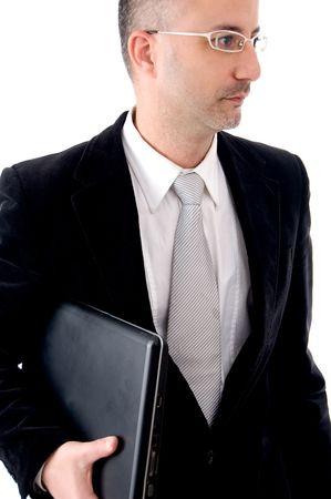 entrepeneur: Businessman holding his laptop Stock Photo