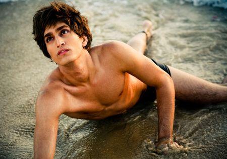 beach hunk: Young male underwear model Stock Photo