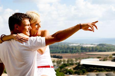 Young couple enjoying view