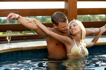 Love by the pool Stock Photo - 5328241