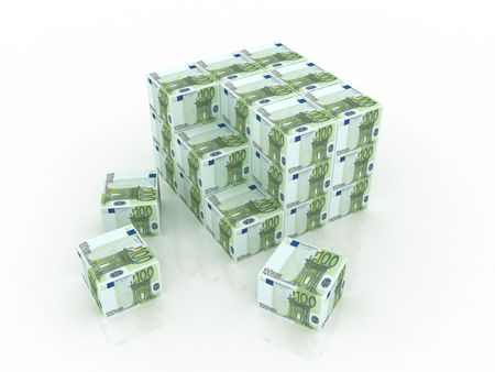3d euro boxes in pile against a white background Stock Photo - 5356899