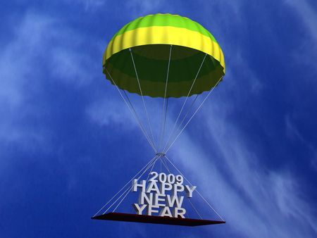 three wishes: three dimensional flying parachute with text in the sky