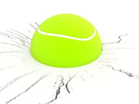 3d ball: three dimensional view of tennis ball Stock Photo