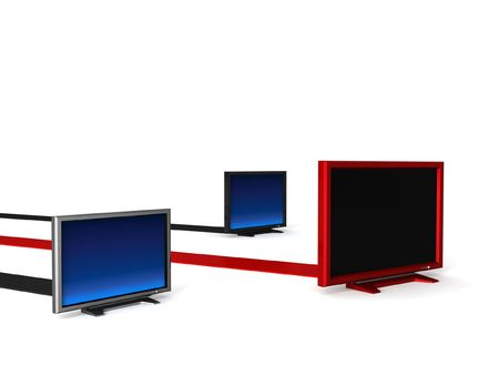 three dimensional isolated lcd televisions photo