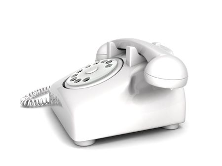 landlines: side view of three dimensional landline phone Stock Photo