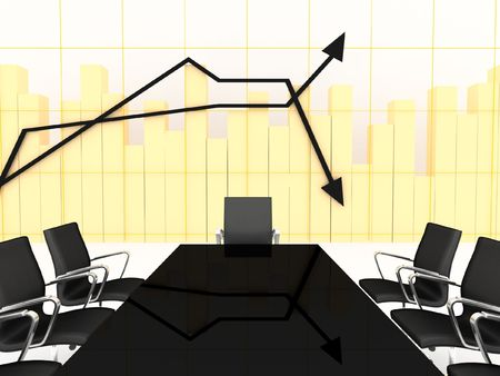 boardroom: 3d animated conference room with charts on the background