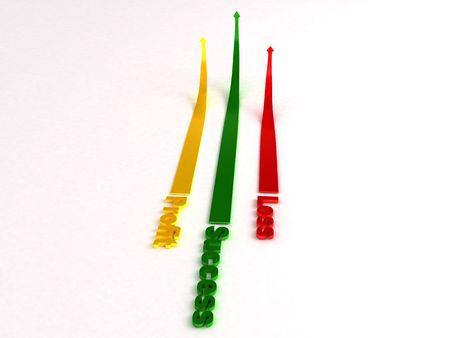 perdidas y ganancias: tres flechas dimensionales va mostrando al alza de ganancias, la p�rdida y el �xito  Foto de archivo