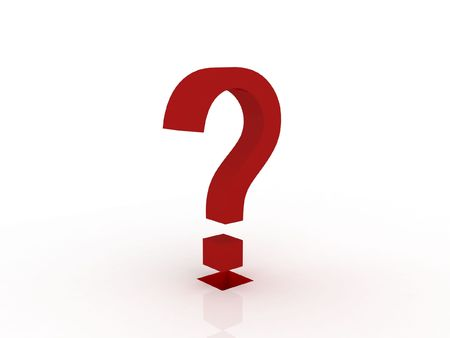 inquiring: 3d question mark in red Stock Photo
