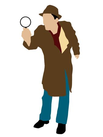 inquiring: man posing with magnifier on isolated background