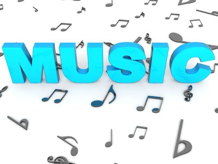 three dimensional rendered word of music on musical background photo
