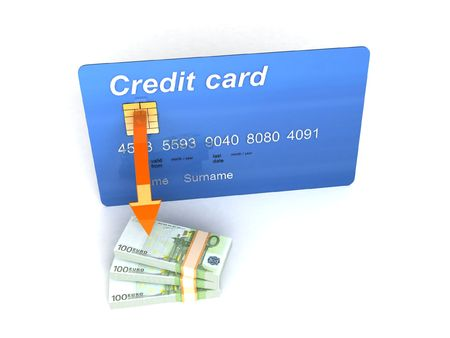 rendered credit card with euro currency on an isolated white background photo