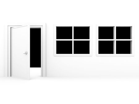 front view of windows with door on a white background photo