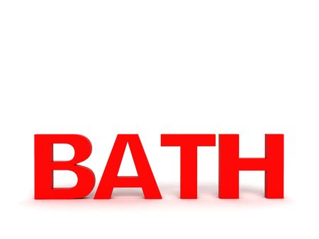 three dimensional view of bath text