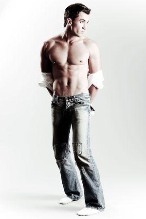 bare chest: Portrait of a casual male model