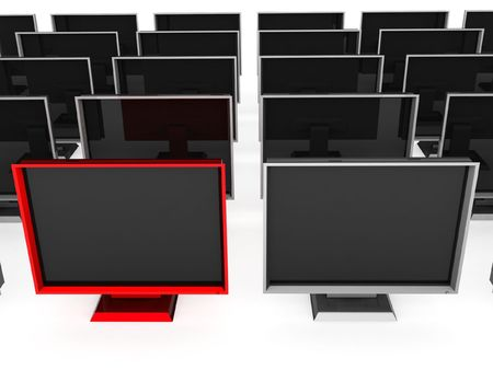 series of 3d flat screen televisions on a white background