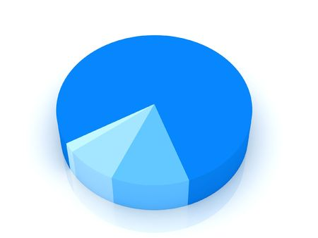 top view of 3d pie chart on an isolated background Standard-Bild