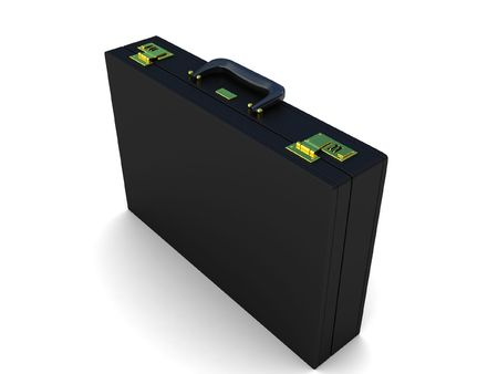 three dimensional office briefcase on an isolated background