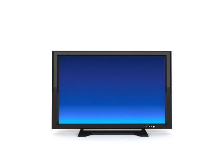 telecast: three dimensional lcd television against white background