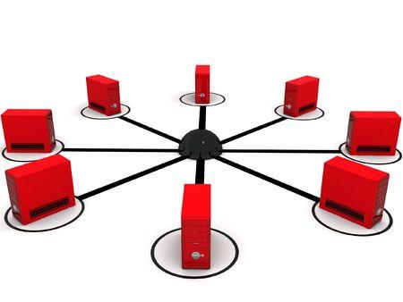 three dimensional global network with white background Standard-Bild