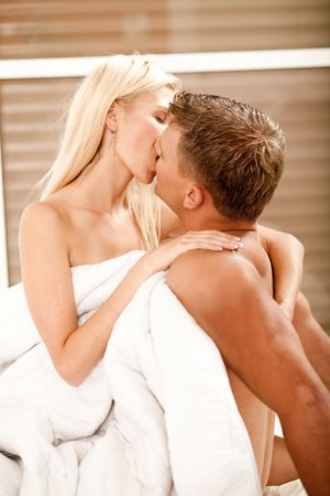 Hot caucasian couple during sexual intercourse, kissing hard Stock Photo - 5674052