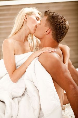 Man and woman during foreplay Stock Photo