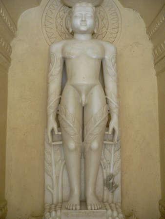 female likeness: Statue of Jain god, Mahabir
