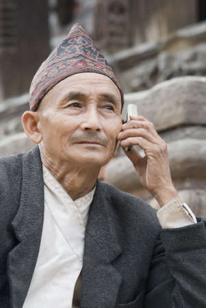 Close-up of a senior man talking on a mobile phone Stock Photo - 627753