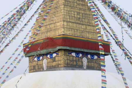 kathmandu: High section view of a temple, Swayambhunath, Kathmandu, Nepal