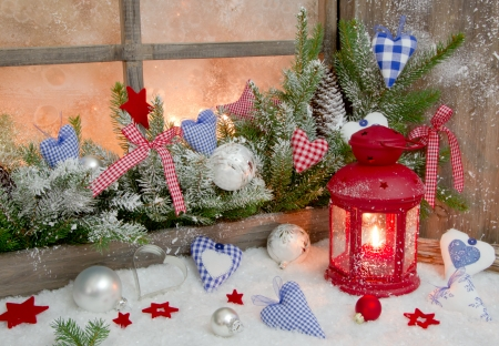 christmas decoration with red lantern on window sill stock photo picture and royalty free image image 22570540
