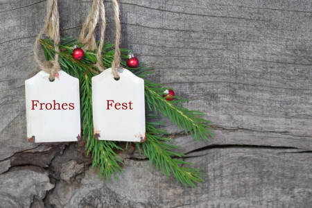 Top view of german text christmas decoration
