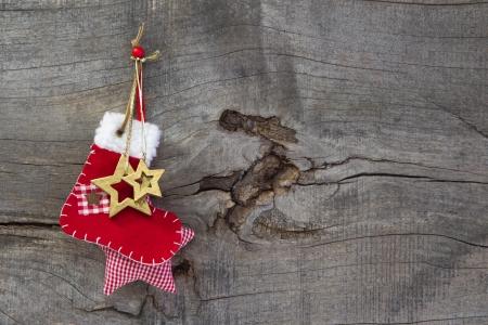 botas de navidad: Vista superior de la decoración de la Navidad con las estrellas y de arranque Foto de archivo