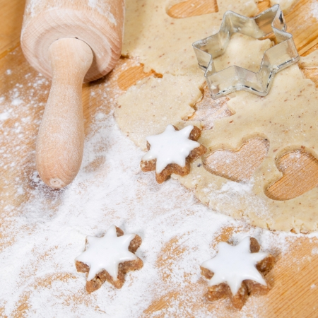Close up of preparing gingerbread cookies photo