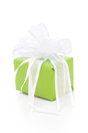 giftbox: Isolated green gift box with a white ribbon