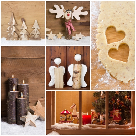 Christmas decoration with wood, stars, candles and hearts