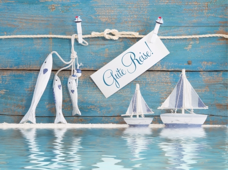 carpe diem: German text - Gute Reise - Concept for holiday or sailing or a greeting card Stock Photo