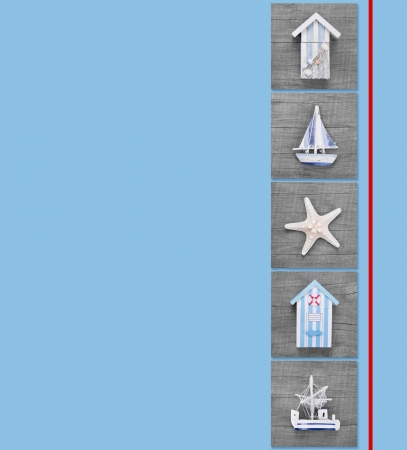 beach hut: Five maritime objects for holiday, sailing or traveling for a voucher or greeting card