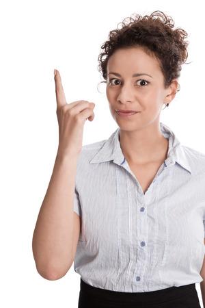 poner atencion: Negocios dedo tembloroso mujer aislada en el fondo blanco